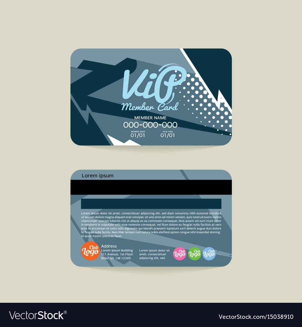 Front And Back Vip Member Card Template Royalty Free Vector Regarding Template For Membership Cards