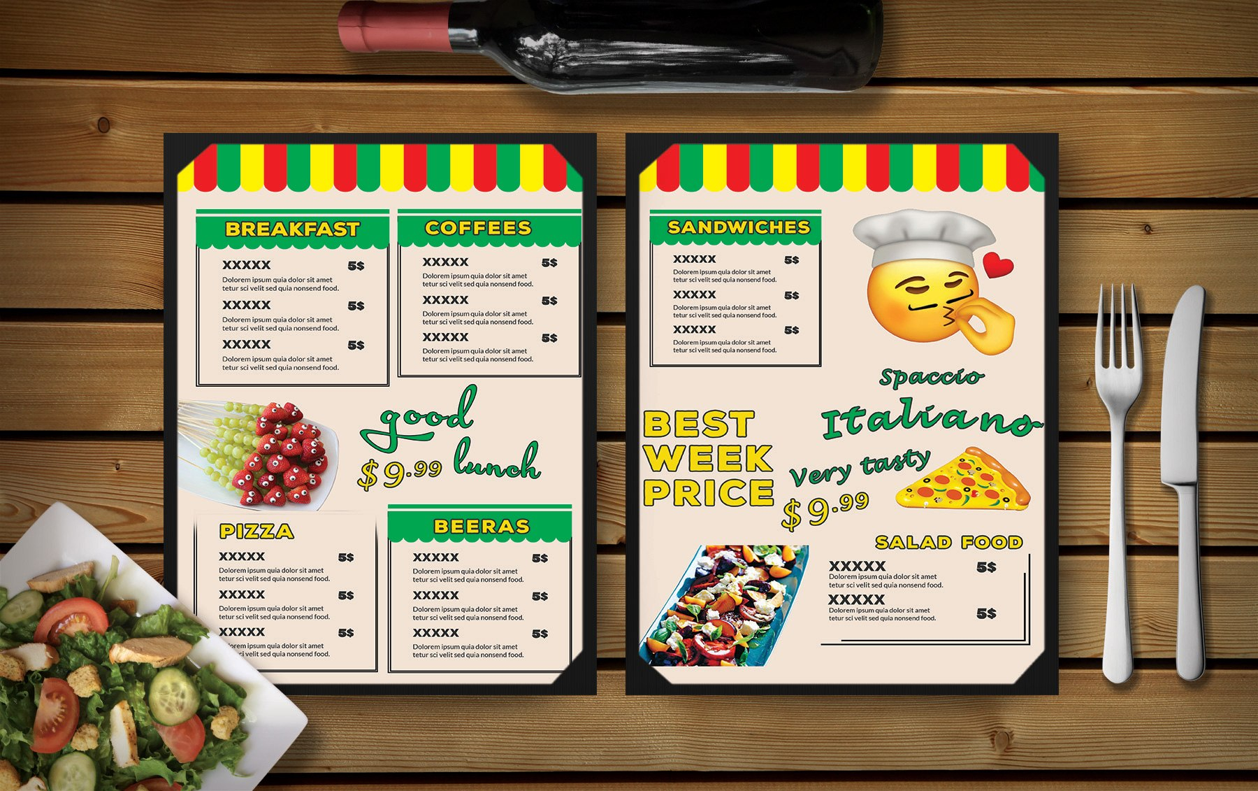 Fun Day Restaurant Menu Psd Template  Effects Throughout Fun Menu Templates