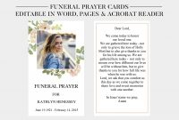 Funeral Prayer Cards Printable Funeral Cards Memorial  Etsy in Memorial Card Template Word