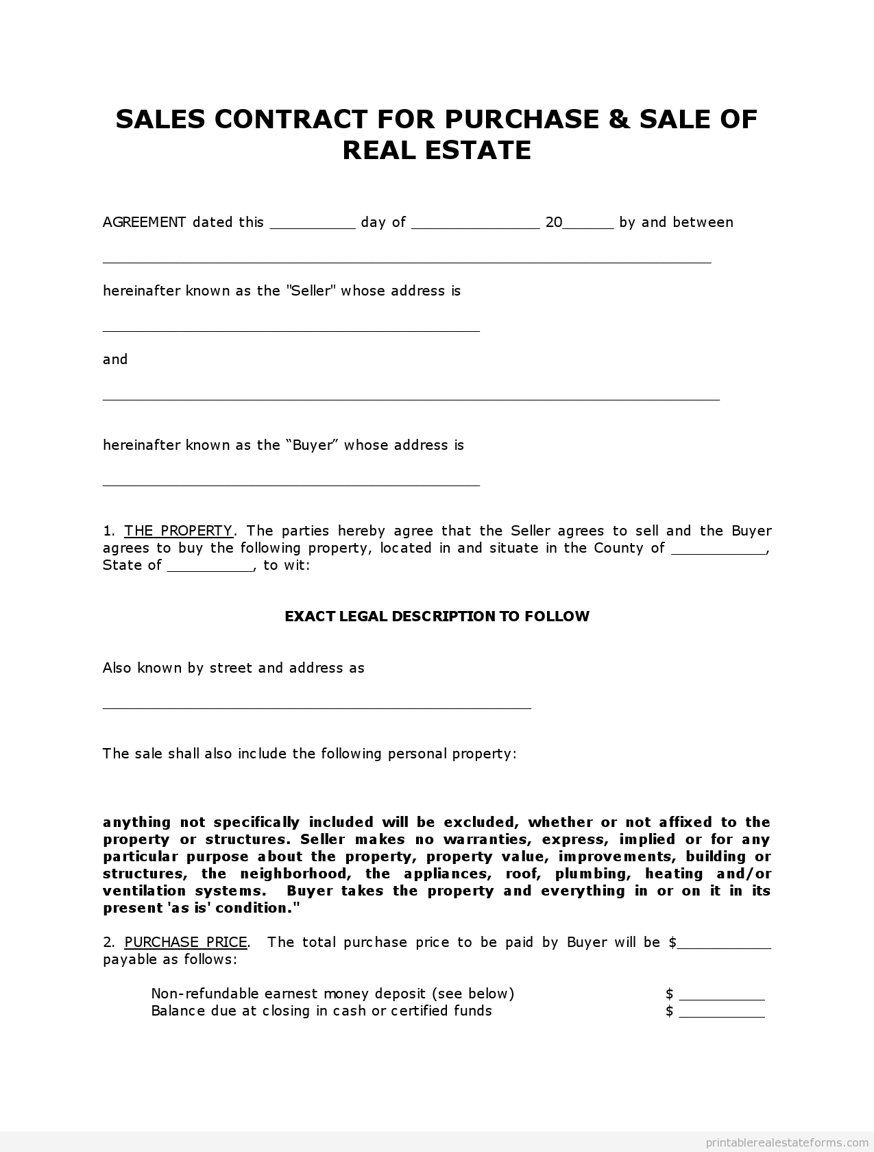 Get High Quality Printable Simple Land Contract Form Editable With Simple Land Sale Agreement Template