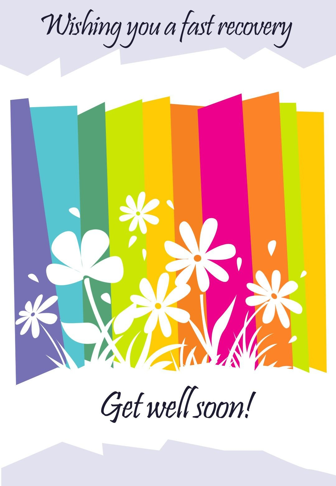 Get Well Card Free Printable  Fast Recovery Flowers Greeting Card Intended For Get Well Soon Card Template