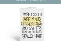 Get Well Card Printable Funny Cancer Card Printable I Wish I  Etsy with Get Well Card Template