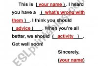 Get Well Soon Card Template  Esl Worksheetcrystalhwang with regard to Get Well Card Template