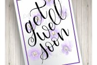 Get Well Soon Card With Purple Violets Downloadable Card Printable for Get Well Card Template
