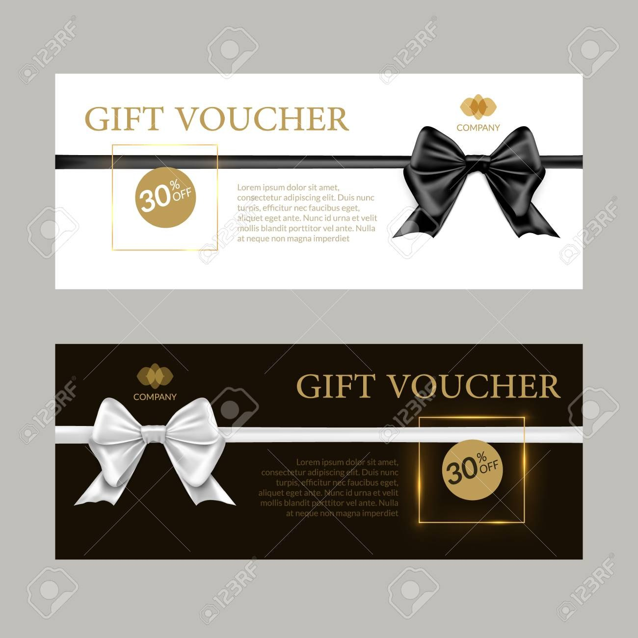 Gift Card Or Gift Voucher Template Black And White Bows And Inside Black And White Gift Certificate Template Free