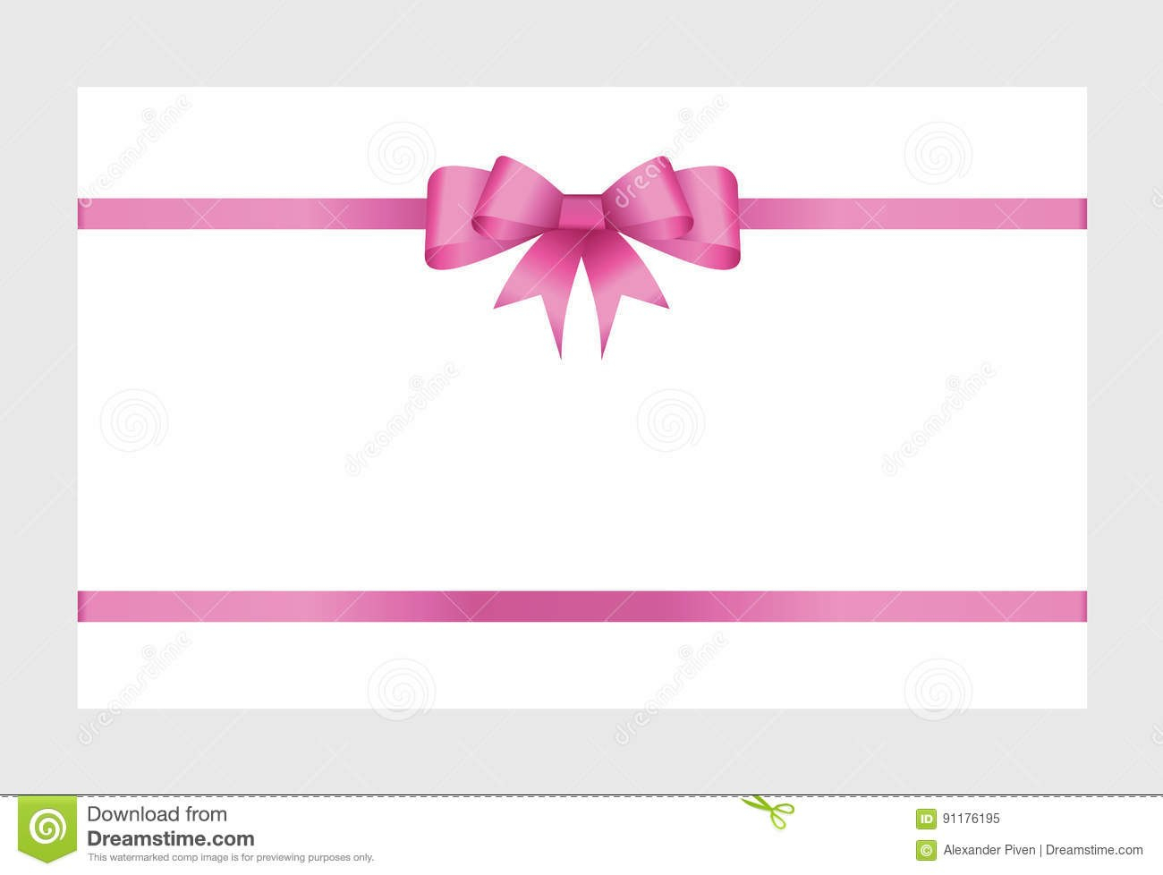 Gift Card With Pink Ribbon And A Bow Stock Vector  Illustration Of Within Pink Gift Certificate Template