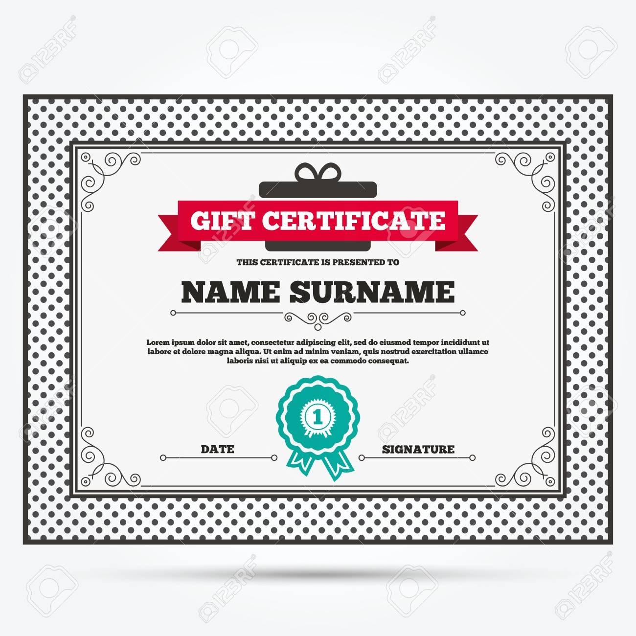 Gift Certificate First Place Award Sign Icon Prize For Winner With Regard To First Place Award Certificate Template