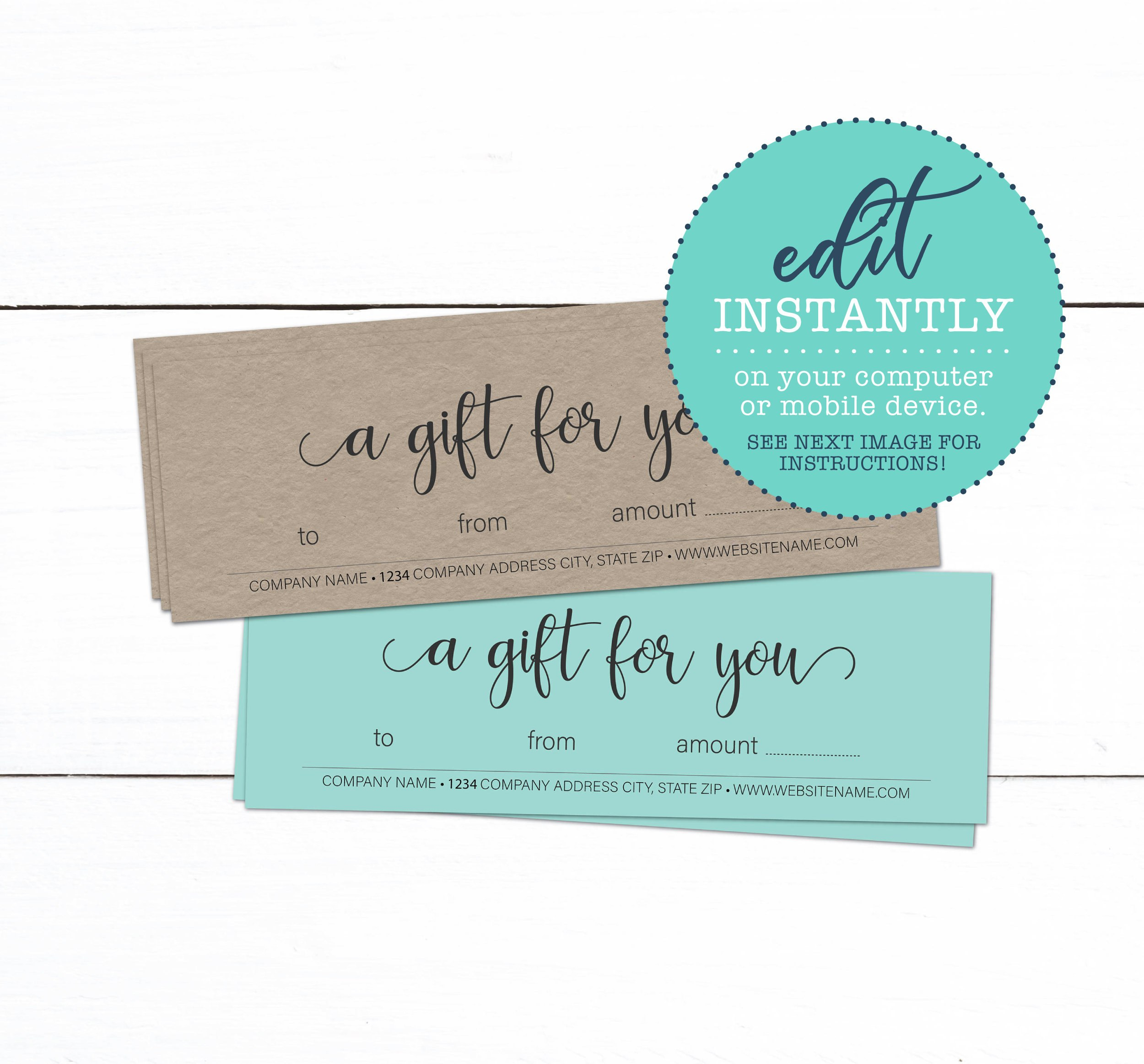 Gift Certificate Template Custom Business Gift Certificate  Etsy Intended For Company Gift Certificate Template