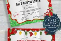 Gift Certificate Template Editable Gift Certificate From Santa in Kids Gift Certificate Template