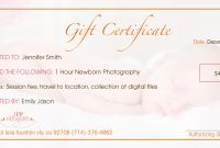 Gift Certificate Templates Certificate Templates Within Photoshoot with Photoshoot Gift Certificate Template