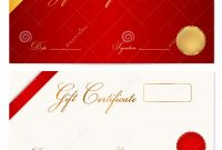 Gift Certificate Voucher Template Wax Seal Stock Vector for Present Certificate Templates
