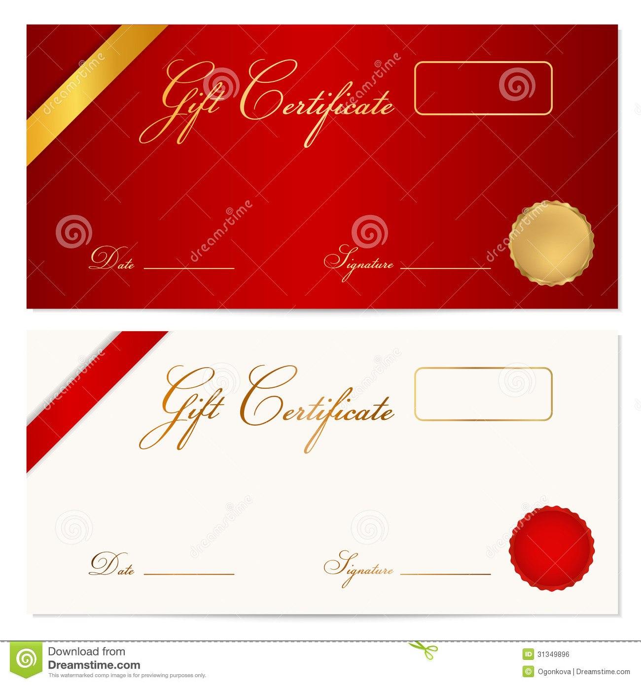 Gift Certificate Voucher Template Wax Seal Stock Vector With Graduation Gift Certificate Template Free