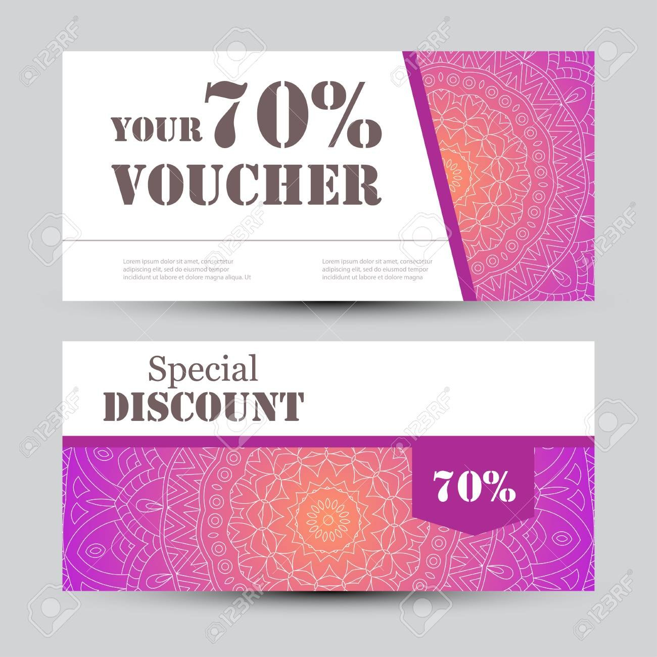Gift Voucher Template With Mandala Design Certificate For Sport Pertaining To Yoga Gift Certificate Template Free