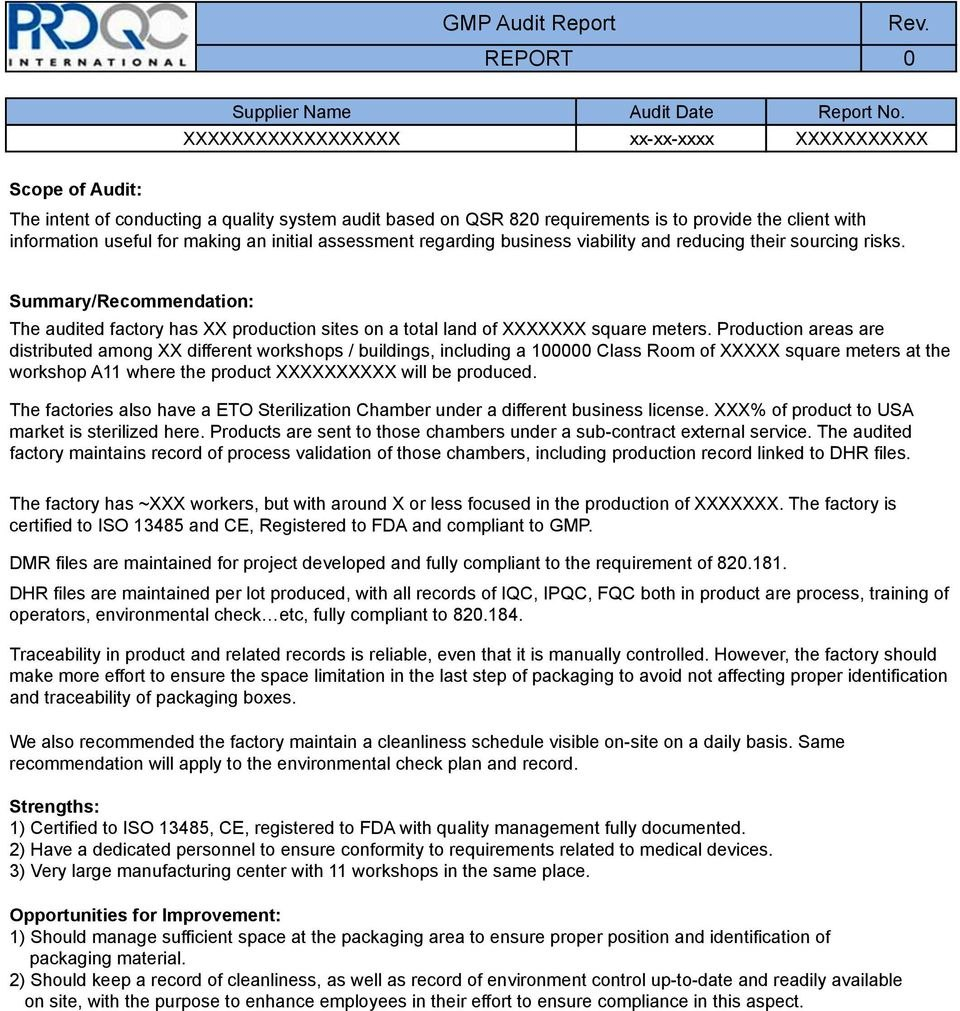 Gmp Audit Report  Example Report   Pdf Throughout Gmp Audit Report Template