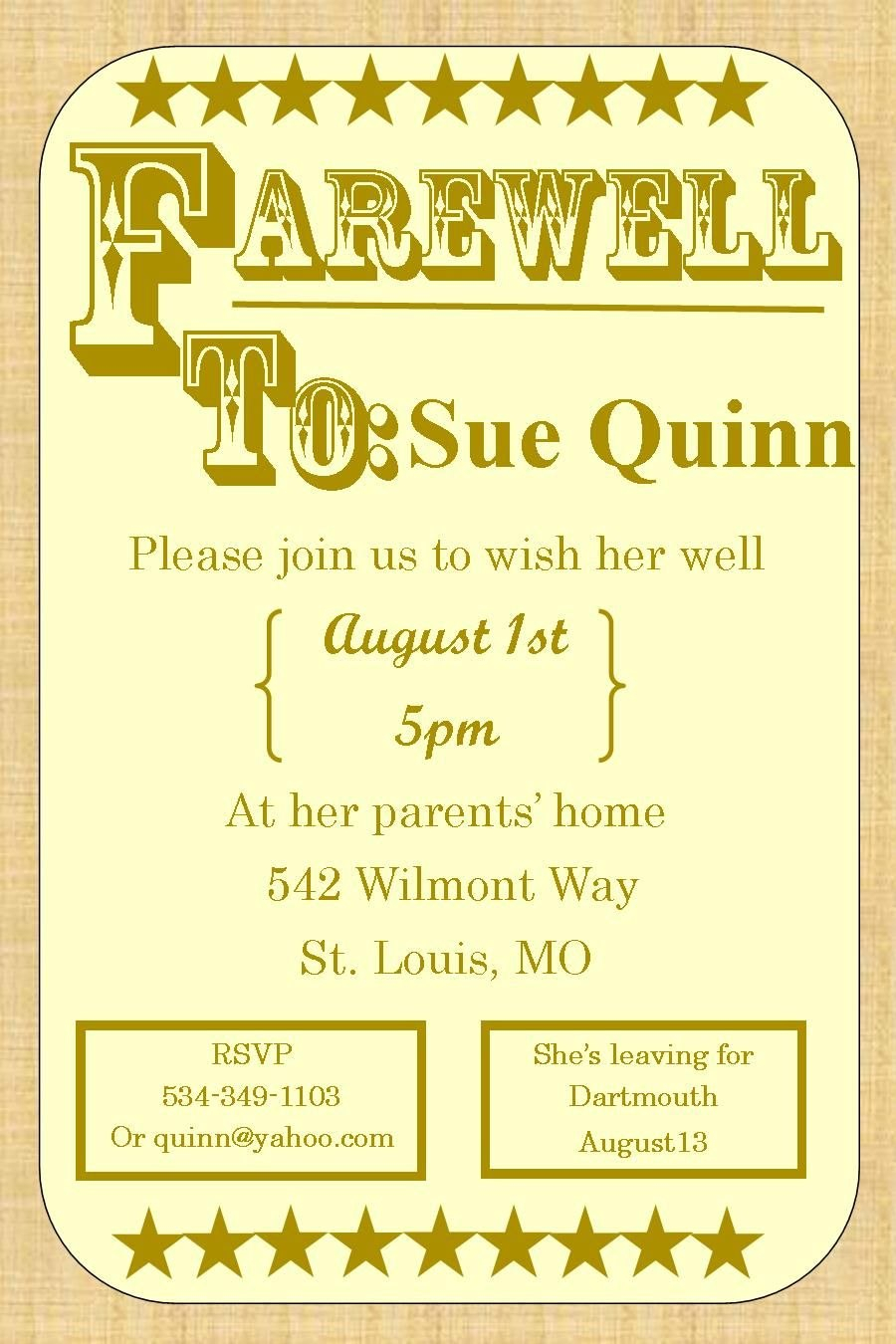 Going Away Party Invitations  Farewell Burlap  Farewell Going Away Intended For Farewell Invitation Card Template