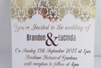 Gold Foil Wedding Invitation Set With Rsvp Card  Sample  Damask for Engagement Invitation Card Template