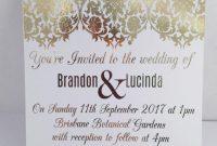 Gold Foil Wedding Invitation Set With Rsvp Card  Sample  Damask in Sample Wedding Invitation Cards Templates