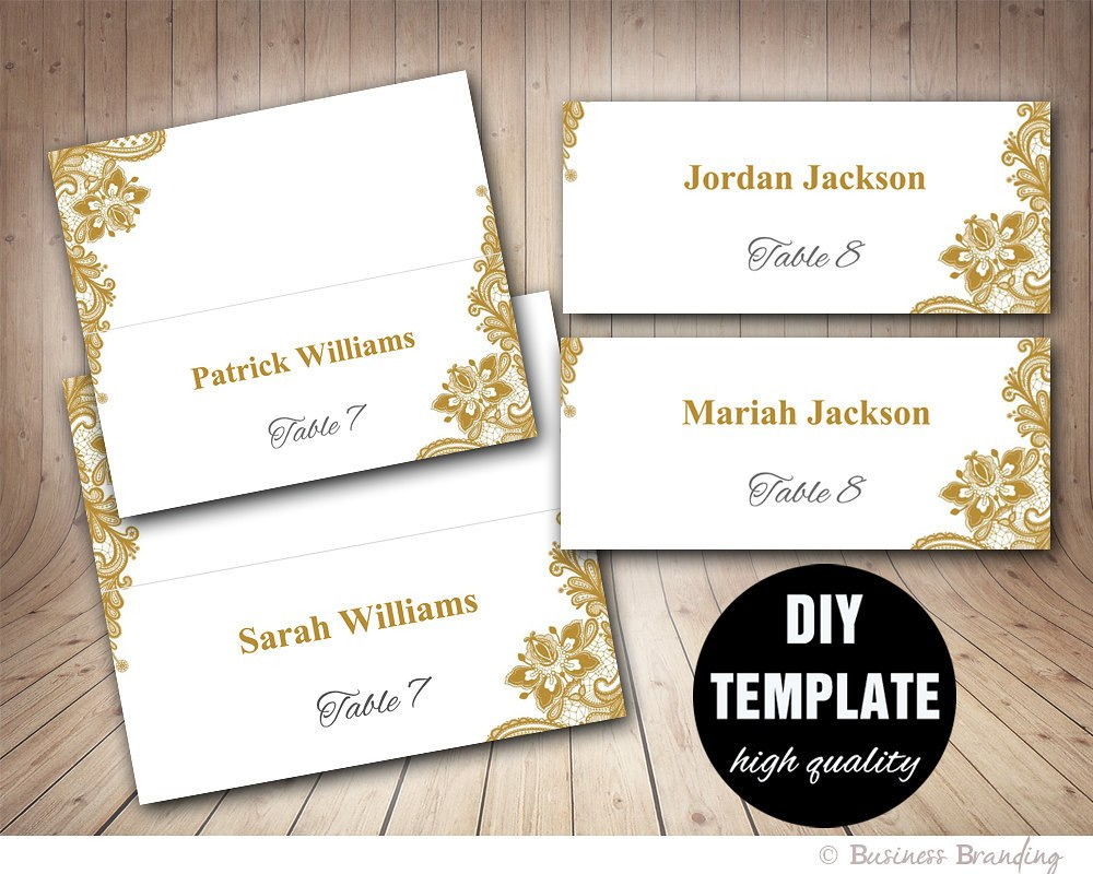 Gold Lace Wedding Place Cards Template Foldover Diy Gold  Etsy Throughout Fold Over Place Card Template