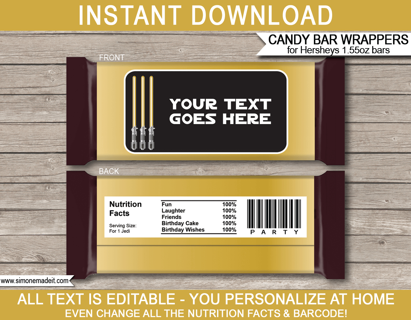 Gold Star Wars Party Hershey Candy Bar Wrappers  Hershey Labels In Hershey Labels Template