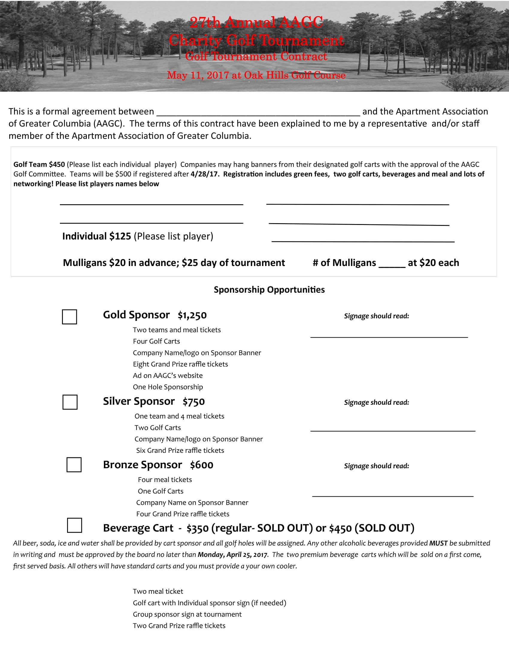Golf Contract Forms  Pdf Intended For Golf Tournament Sponsorship Agreement Template