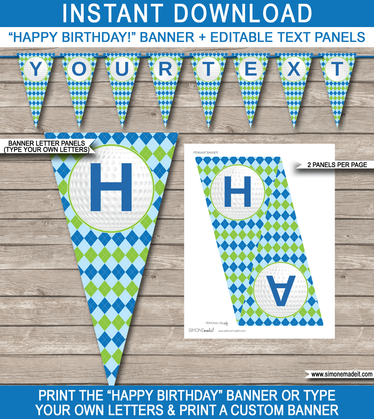 Golf Party Banner Template  Happy Birthday Banner  Editable Bunting Inside Free Printable Happy Birthday Banner Templates