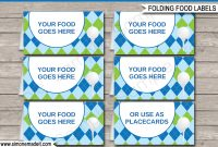 Golf Party Food Labels Template – Blue  Green  Marks Bday  Party regarding Food Label Template For Party