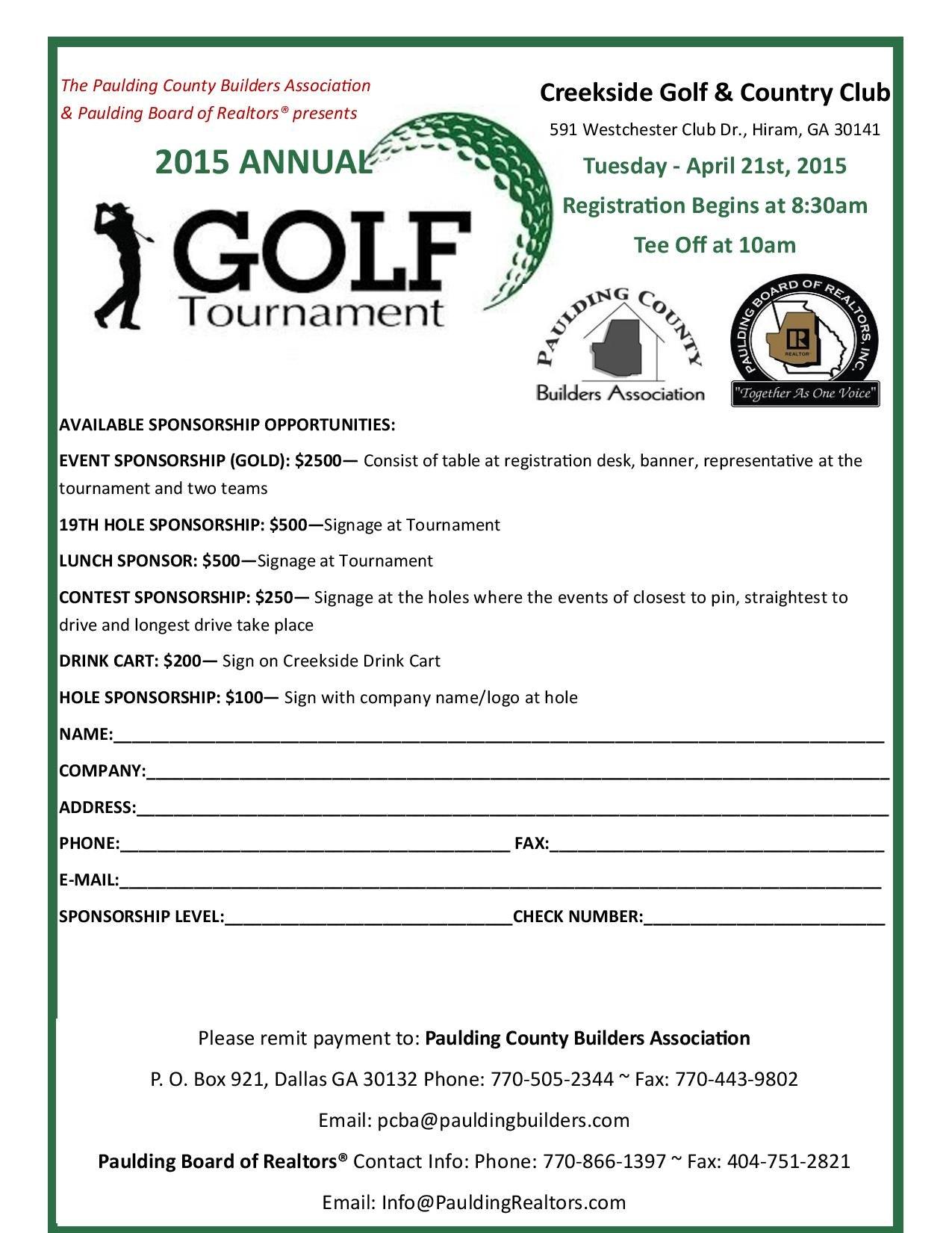 Golf Tournament Sponsorship For Golf Tournament Sponsorship Agreement Template