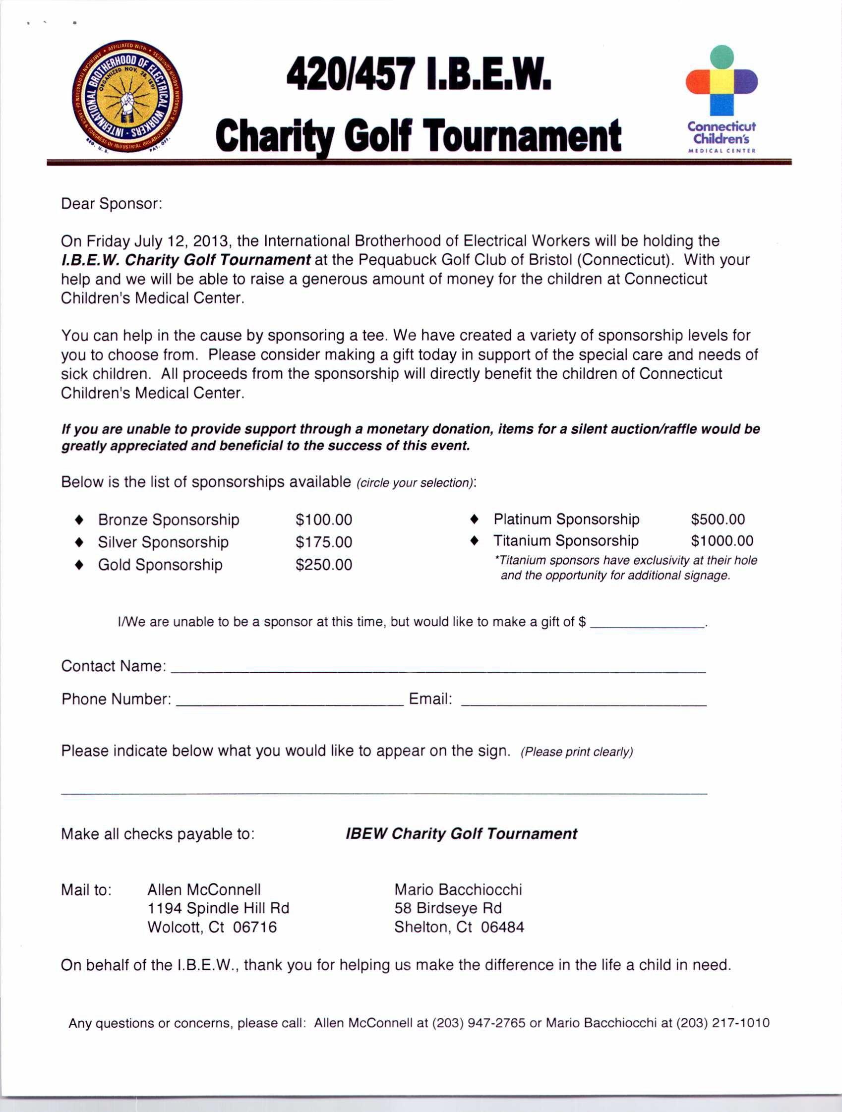 Golf Tournament Sponsorship Throughout Golf Tournament Sponsorship Agreement Template