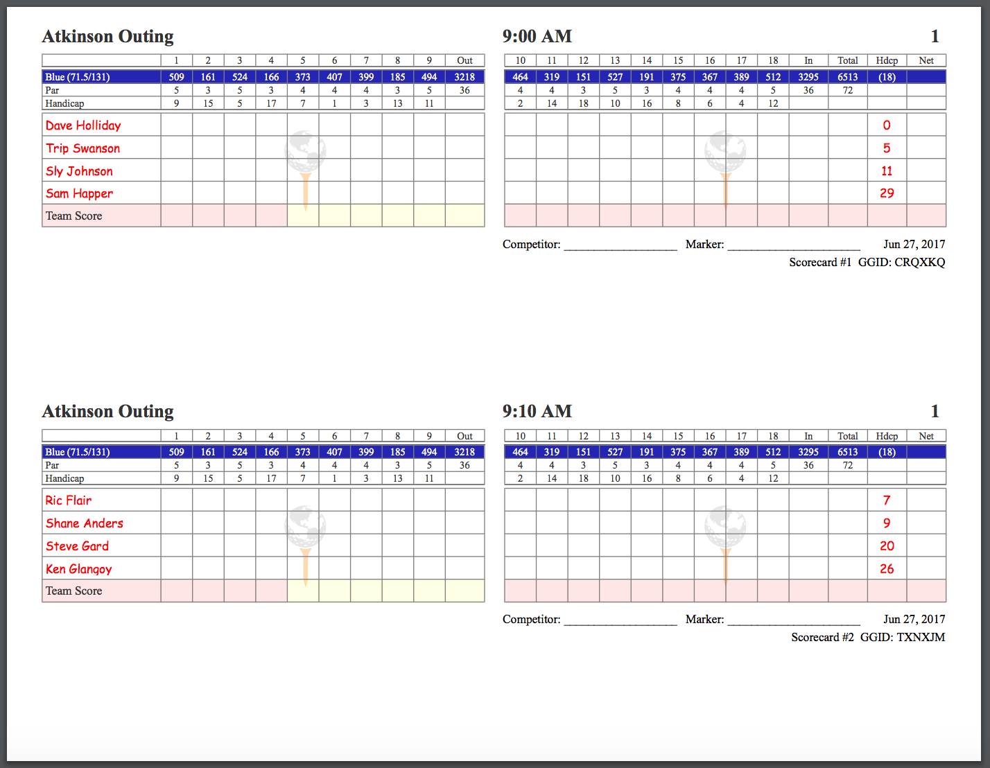 Golfgenius  Printing Scorecards Format Tab Intended For Golf Score Cards Template