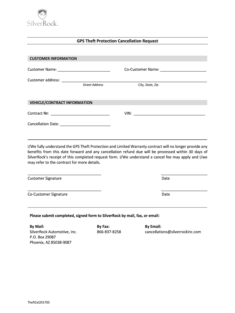 Gps Theft Protection Cancellation Request Fill Online Printable With Limited Warranty Agreement Template