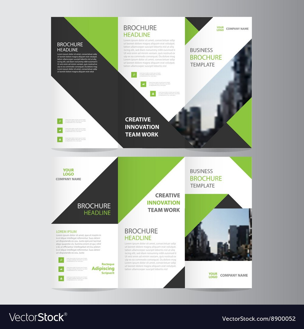 Green Business Trifold Leaflet Brochure Template Vector Image In Free Tri Fold Business Brochure Templates