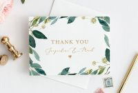 Greenery Thank You Card Template Instant Download within Thank You Note Card Template