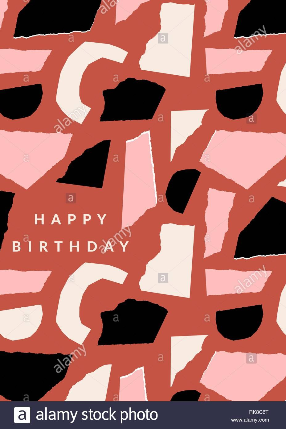 Greeting Card Template With Paper Cut Shapes In Black Pastel Pink Pertaining To Birthday Card Collage Template