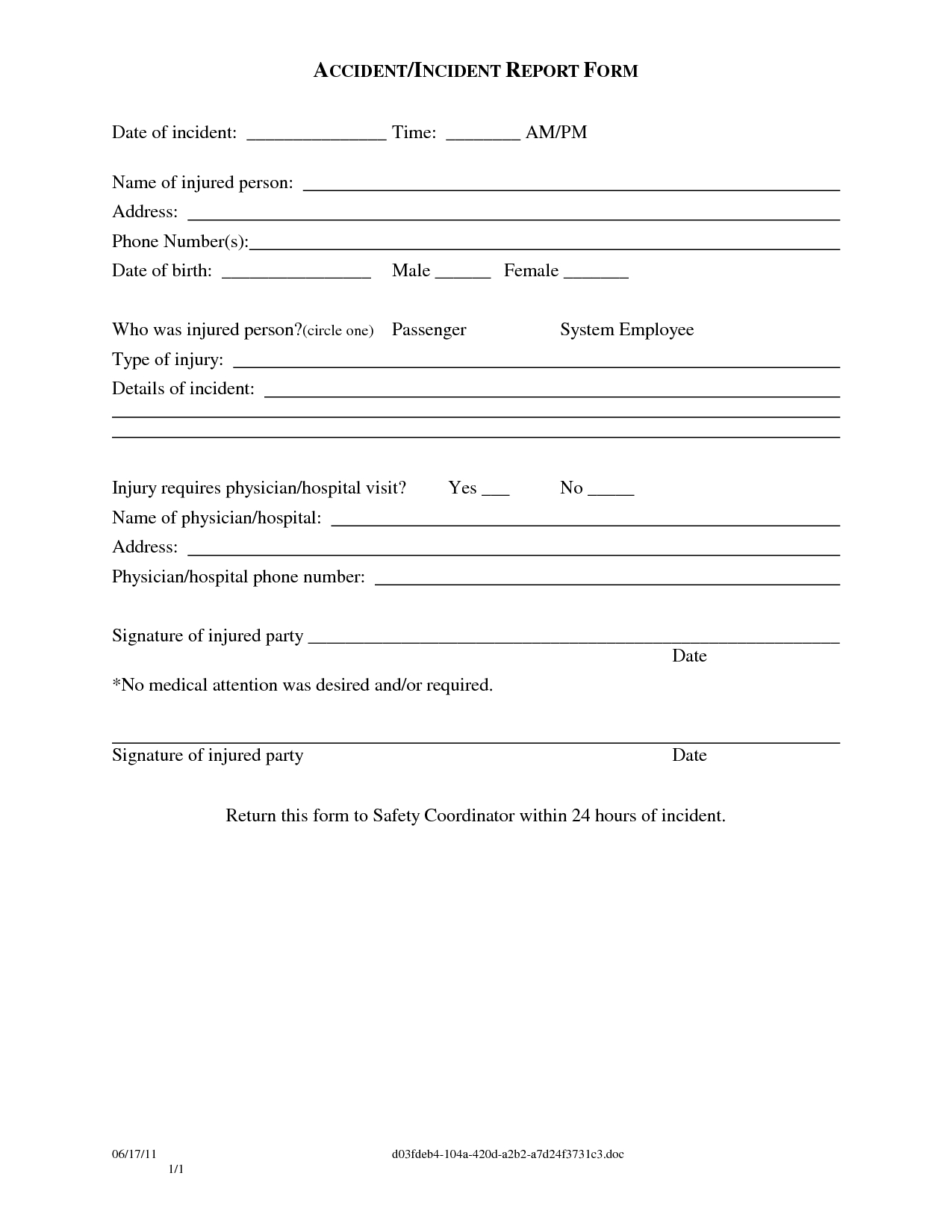 Guest Incident Report  Papakcmic For Generic Incident Report Template
