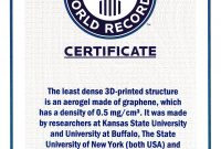 Guinness World Records ™ Names Engineer's Graphene Aerogel As in Guinness World Record Certificate Template