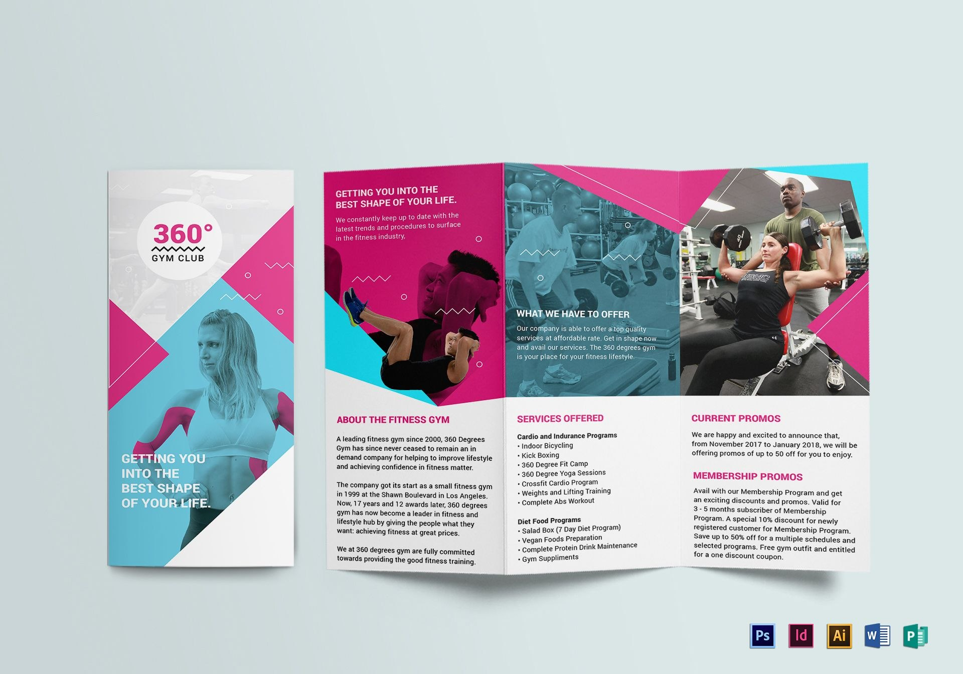 Gym Trifold Brochure Design Template In Psd Word Publisher With Single Page Brochure Templates Psd