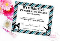 Gymnastics Award Gymnastics Certificate Printable  Etsy Intended For Borderless Certificate Templates