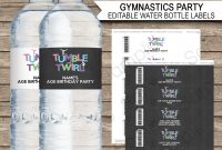 Gymnastics Party Water Bottle Labels Template within Diy Water Bottle Label Template