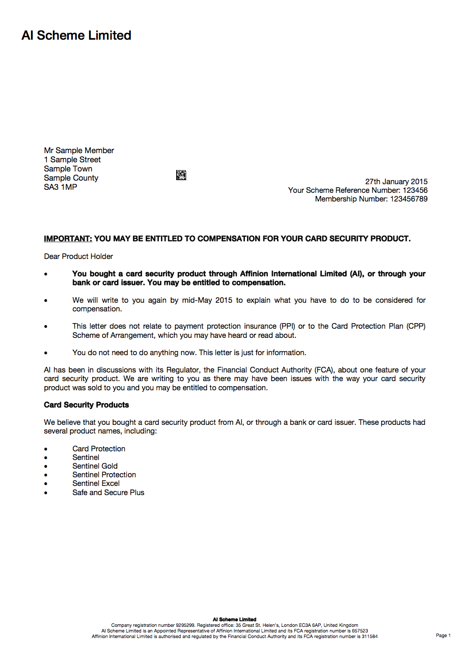 Had Sentinel Card Protection But Not Received A Redress Letter Inside Ppi Claim Letter Template For Credit Card
