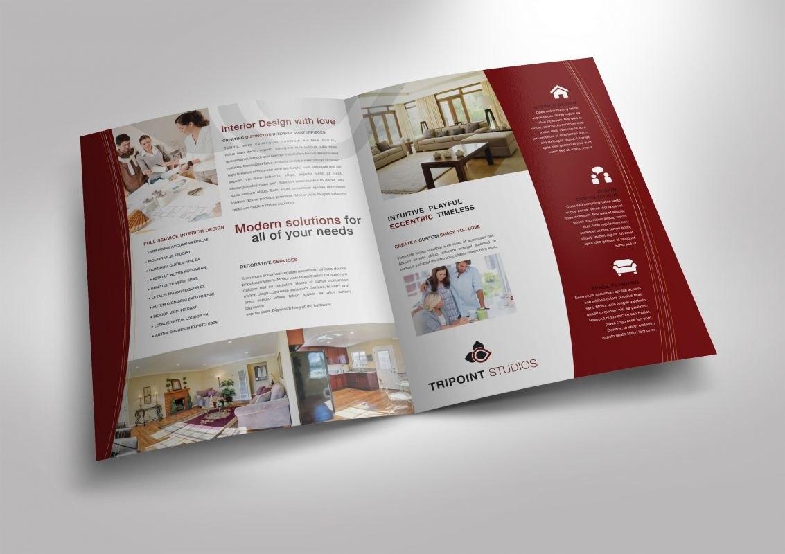 Half Fold Brochure Template For Design Company Marketing Materials Inside Half Page Brochure Template
