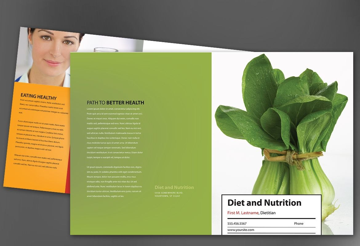 Half Fold Brochure Template For Health And Nutrition Order Custom For Nutrition Brochure Template
