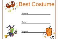 Halloween Best Costume Certificate  Haunts  Hoots In throughout Halloween Certificate Template