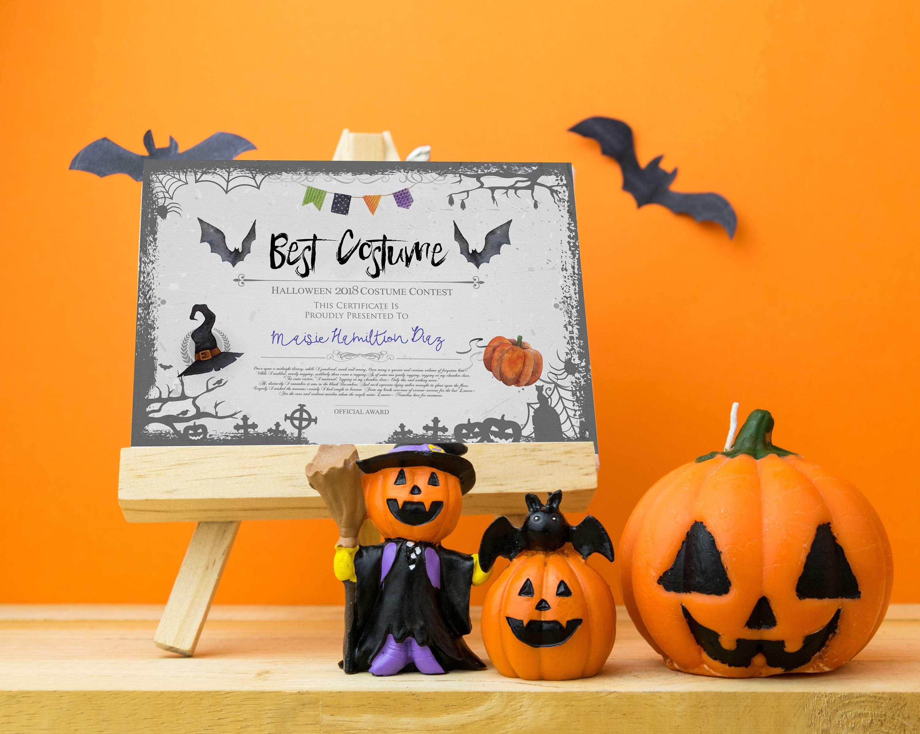 Halloween Party Best Costume Contest Printable Certificate  Etsy Within Halloween Costume Certificate Template