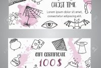 Hand Drawn Halloween Banner Free Voucher Template Ghost Time throughout Halloween Certificate Template