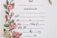 Hand Drawn  Painted Birth Certificate Perfect For A Little Girl intended for Girl Birth Certificate Template