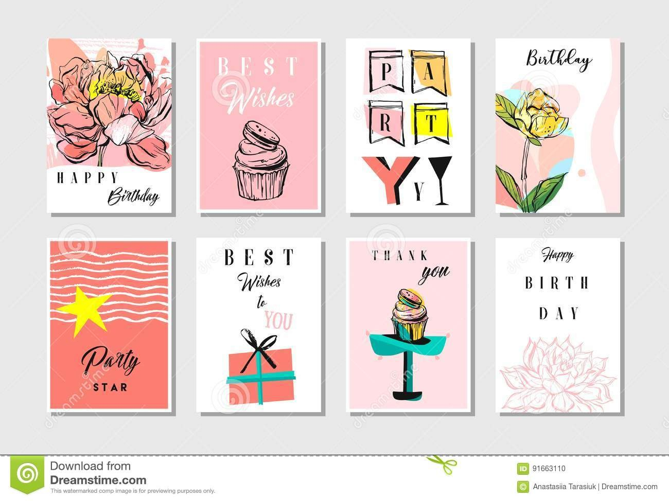 Hand Drawn Vector Abstract Textured Unusual Artistic Collage Happy Intended For Birthday Card Collage Template