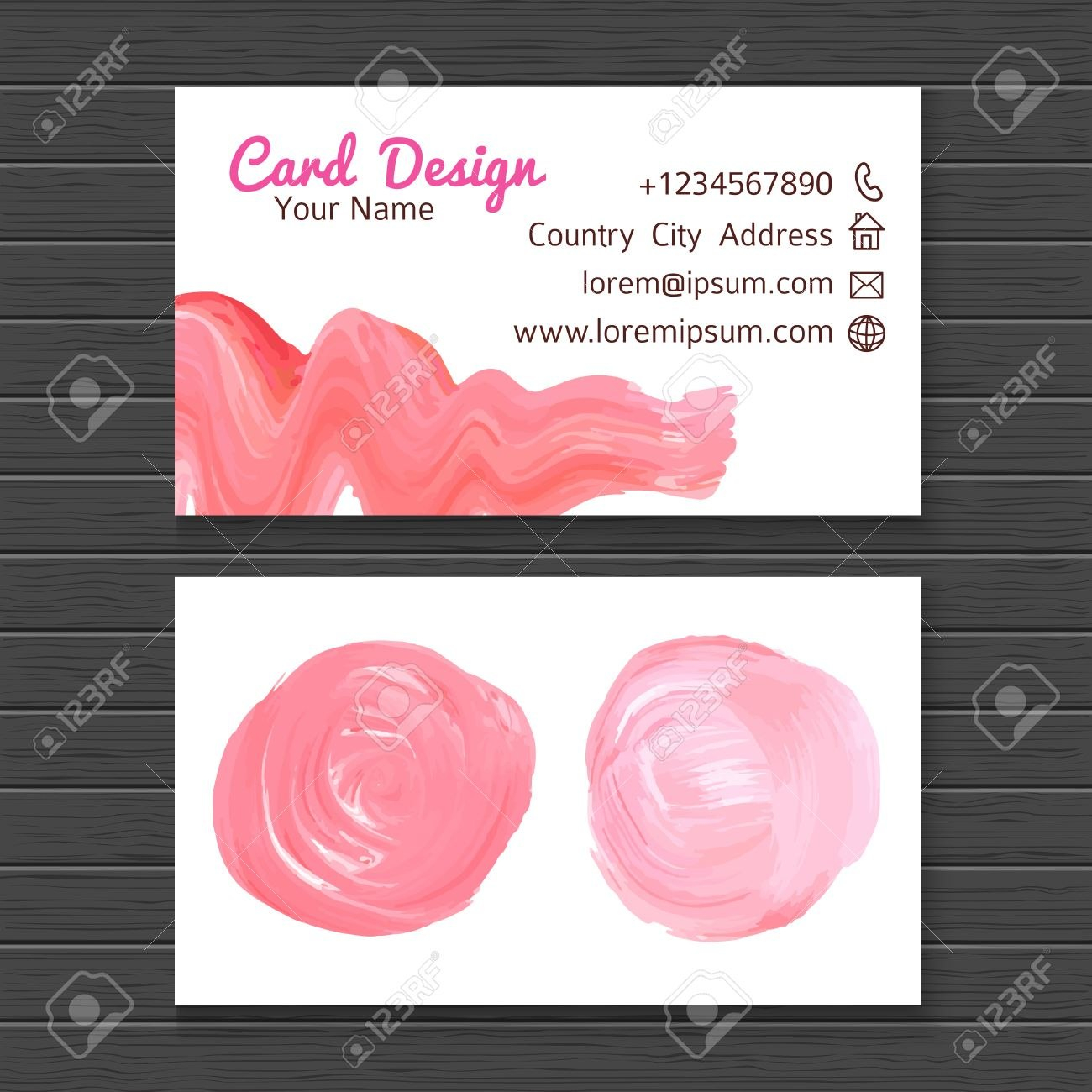 Hand Drawn Watercolor Business Card Template With Pink Lipstick Throughout Cake Business Cards Templates Free