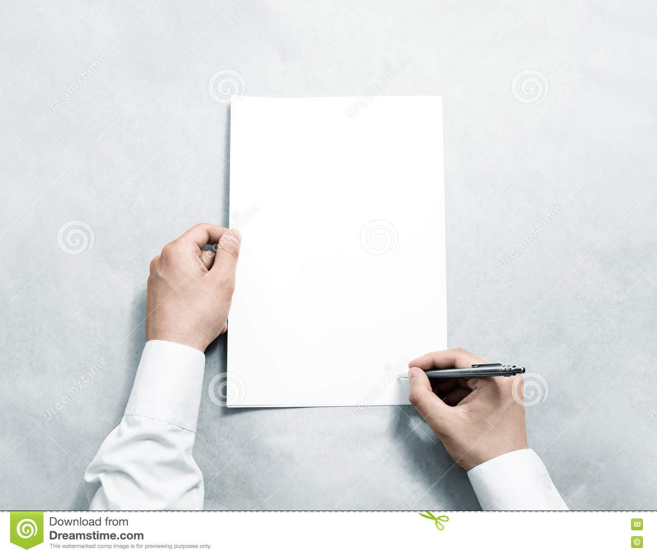 Hand Holding Blank Agreement Mockup And Signing It Stock Image Pertaining To Blank Legal Document Template