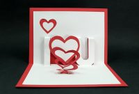 Handmade Valentine's Day Card  Diy 'i Love You' Pop Up Heart Love inside I Love You Pop Up Card Template