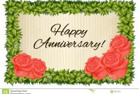 Happy Anniversary Card Template With Red Roses Stock Illustration in Template For Anniversary Card